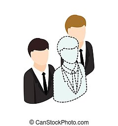 Businesspeople icon, isometric 3d style