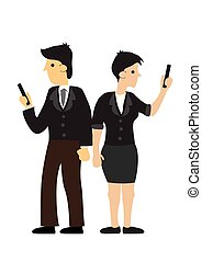 Businesspeople ignore each other and holding mobile in hands. Concept of technology addiction or bad habit. Flat isolated vector illustration.