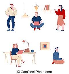 businesspeople, illustration, collaboration, ampoule, développer, au-dessus, vecteur, idée génie, bureau, plat, lumière, dessin animé, ordinateur portable, cooperation., travail, tête, homme affaires, idées, ensemble, créatif, femme affaires