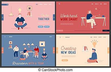 businesspeople, ilustração, projeto, teia, vetorial, brainstorm, set., apartamento, página, luz, caricatura, bulbos, aterragem, glowing, soluções, banner., trabalho, cooperar, tarefa, equipe, idéia, site web, criativo, desenvolvimento