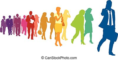 Businesspeople in a hurry - Crowd of colorful walking people...