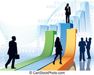 People are going to take their position, conceptual business vector illustration.