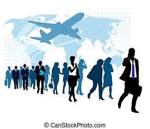Businesspeople in a hurry - People are walking, flying ...