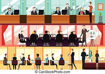 Businesspeople in an Office - A vector illustration of...