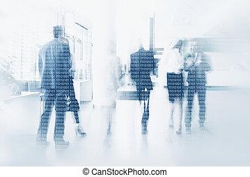 Businesspeople in binary code