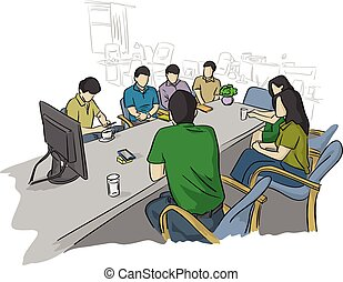 businesspeople in business meeting for future solving problems in office vector illustration sketch doodle hand drawn with black lines isolated on white background