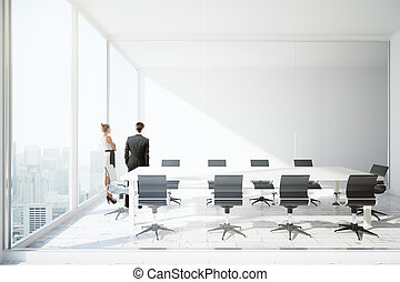 Businesspeople in conference room - Thoughtful businessman...