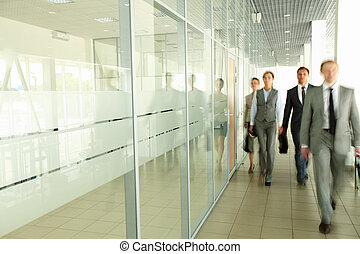 businesspeople, in, corridoio
