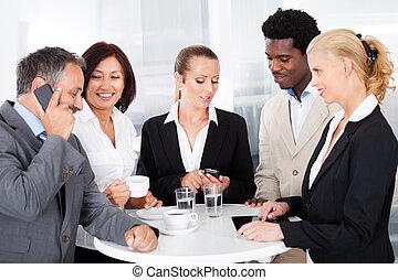 businesspeople, interrupción