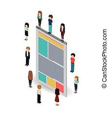 businesspeople, isometrics, デザイン