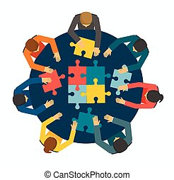 Businesspeople joining puzzle pieces