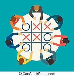 businesspeople, jouer, croix, zéros