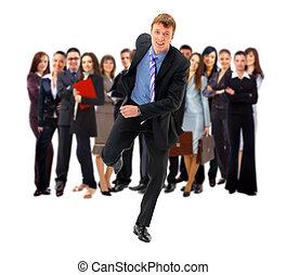 businesspeople, kreska, przejście, koniec