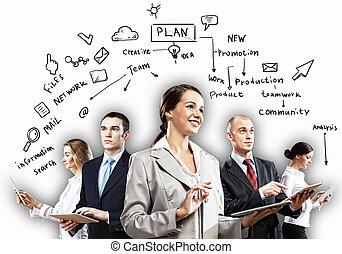 businesspeople, lag, framställ