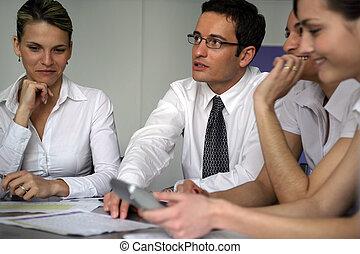 businesspeople, ligado, um, seminário