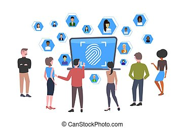 businesspeople looking at laptop screen with biometric fingerprint security data protection access future technology concept team brainstorming during meeting flat full length horizontal