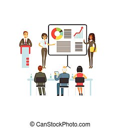 Businesspeople making presentation and explaining chart on a whiteboard, business meeting in an office vector Illustration