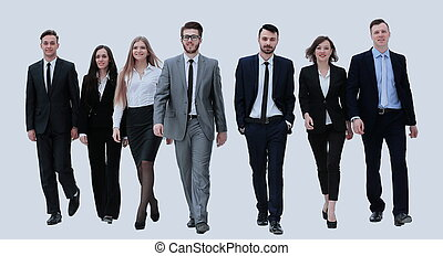 businesspeople, marche., isolé, blanc