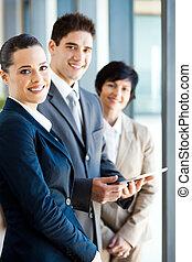 businesspeople, met, tablet, computer