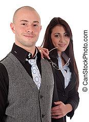 businesspeople, mulher, homem