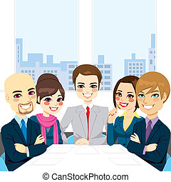 Businesspeople Office Meeting - Five businesspeople at...