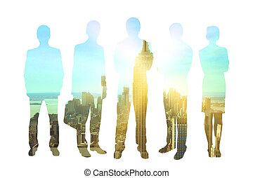 Businesspeople on city background multiexposure