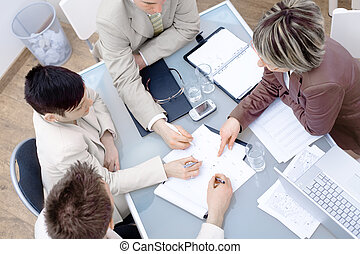 Businesspeople on meeting - High-angle view of...