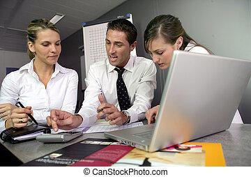 businesspeople, op, een, onderwijs, opleiding