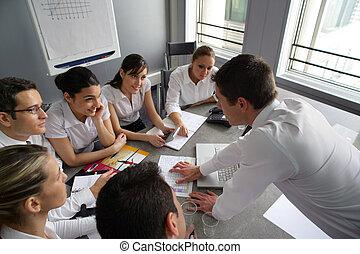 businesspeople, op, een, professioneel, opleiding