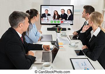 businesspeople, osservare, un, linea, presentazione