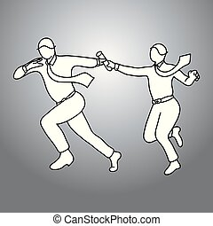 Businesspeople passing relay Baton vector illustration doodle sketch hand drawn with black lines isolated on gray background. Teamwork business concept.