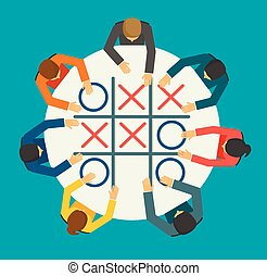 Businesspeople playing Noughts and Crosses game , vector illustr
