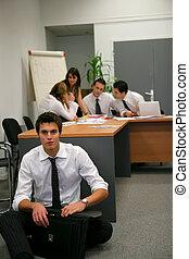 businesspeople, poniendo común