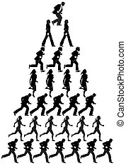 businesspeople pyramid - A pyramid of running businesspeople