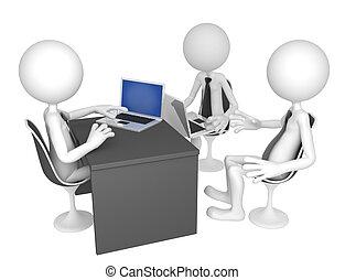 businesspeople, recolhido, ao redor, um, tabela, para, um,...