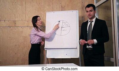 businesspeople, risposta, domanda, durante, presentazione