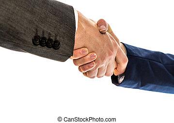 businesspeople, schuddende handen