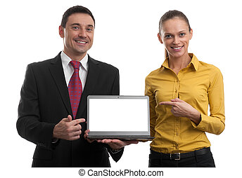 businesspeople showing a laptop with blank screen