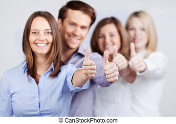 Businesspeople Showing Thumbs Up Sign