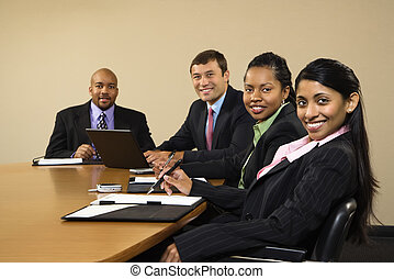 businesspeople., sorrindo