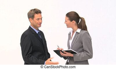 Businesspeople speaking about an appointment