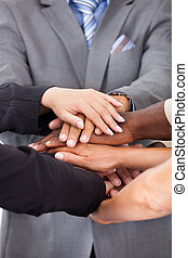Businesspeople Stacking Hands - Group Of Multiracial People...