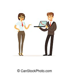 Businesspeople standing and discussing ideas using laptop, coworking people vector Illustration