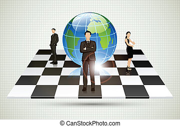 Businesspeople standing around Globe on Chessboard
