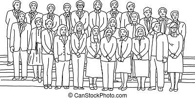 businesspeople standing together vector illustration sketch doodle hand drawn