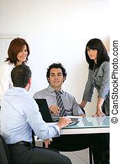 businesspeople, su, uno, riunione