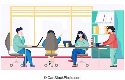 Businesspeople talking and working together in office have a productive conversation, meeting