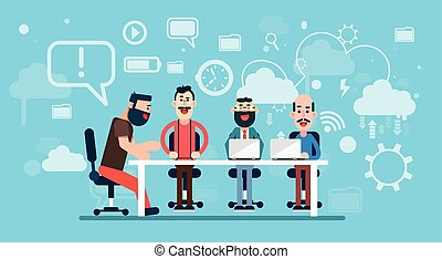 Businesspeople Team Working Abstract Business Technology Background Workplace