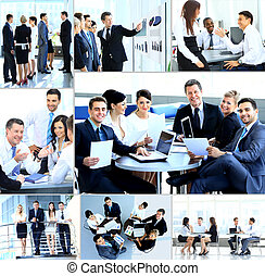 businesspeople, teniendo, reunión, en, moderno, oficina