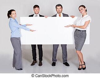 businesspeople, vasthouden, plakkaat